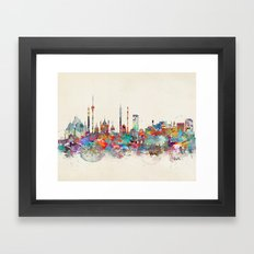 Delhi india skyline Framed Art Print
