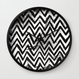 Black Chevron Stripes Boho Designs soutwestern goth Wall Clock