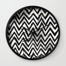 Black Chevron Stripes Boho Designs soutwestern goth Wall Clock