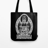 sacred geometry Tote Bags featuring Sacred Geometry by Hazel Bellhop