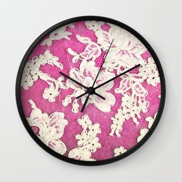 pink lace-photograph of vintage lace Wall Clock