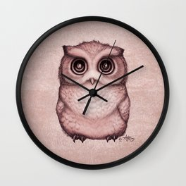 """""""The Little Owl"""" by Amber Marine ~ (Peach Fuzz Version) Graphite&Ink Illustration, (Copyright 2016) Wall Clock"""
