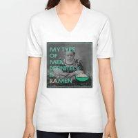 ramen V-neck T-shirts featuring ramen lover by AmDuf