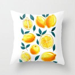 Golden lemons pattern in watercolor Throw Pillow