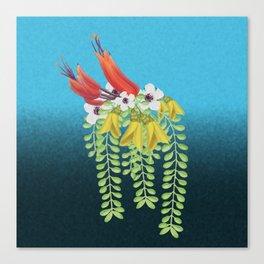 Flax, Kowhai and Manuka Flowers Canvas Print