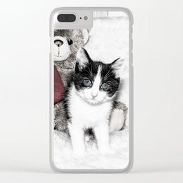 Valentines kitten and teddy Clear iPhone Case