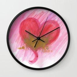 Golden heart Valentines card Wall Clock
