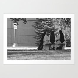 Nuns Sitting in a No Parking Zone Art Print