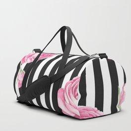 Black white blush pink watercolor floral stripes Duffle Bag