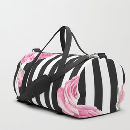 Black white blush pink watercolor floral stripes Duffle Bag
