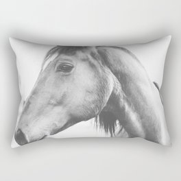bw horse, equestrian, black and white horse, thoroughbred Rectangular Pillow