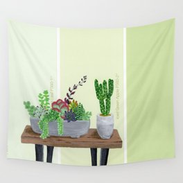 Cacti and Succulents on Greens Wall Tapestry