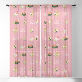 Cute Sushi Sheer Curtain