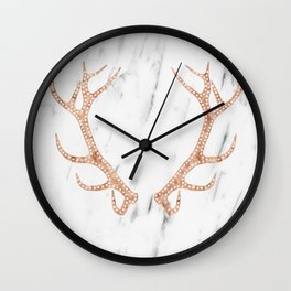 Rose gold antlers on soft white marble Wall Clock