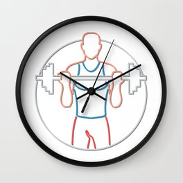 Athlete Lifting Barbell Neon Sign Wall Clock