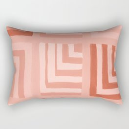 Painted Color Block Squares in Peach Rectangular Pillow