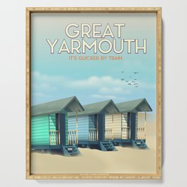 Great Yarmouth Beach travel poster Serving Tray