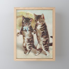 Vintage Cats Walking with Parasol Framed Mini Art Print
