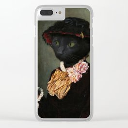 Black Cat with a mirror Clear iPhone Case