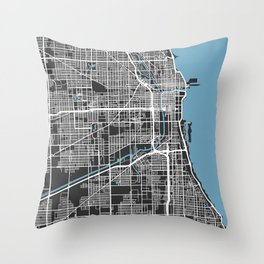 Chicago Map | Black & Blue Colors Throw Pillow