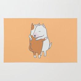 Bull Terrier Hugs Rug