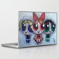 powerpuff girls Laptop & iPad Skins featuring powerpuff girls doodle/scribble by Patricia Pedroso