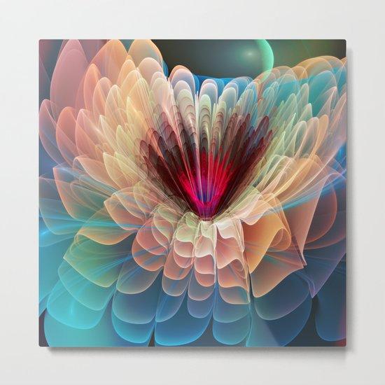 Moon Flower, artistic fractal art Metal Print