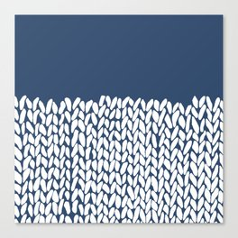 Half Knit Navy Canvas Print