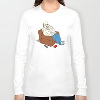 potato Long Sleeve T-shirts featuring Couch Potato by Pigboom Art
