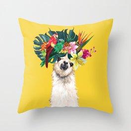 Aloha Hawaii Llama in Yellow Throw Pillow