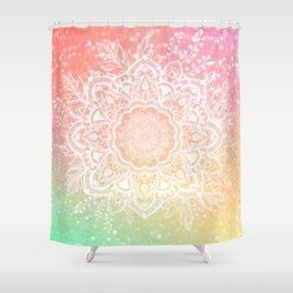 Mandala Bohemian Glitter Pink Gold Mint Sparkle Floral Wreath Illustration Shower Curtain