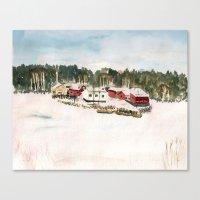 finland Canvas Prints featuring Finland village by Nadezhda Shoshina