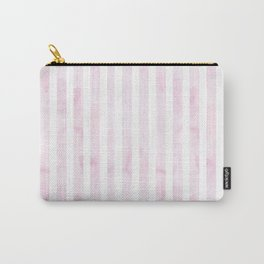 Hand painted baby pink white watercolor stripes Carry-All Pouch