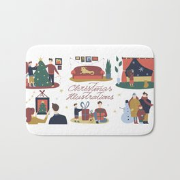 Christmas Clip Art Bath Mat