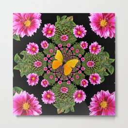 Yellow Butterfly Fuchsia Pink Dahlias Stylized Garden Black Pattern Metal Print