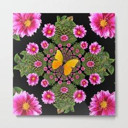 Yellow Butterfly Fuchsia Pink Dahlias Stylized Garden Black Pattern Metal Print