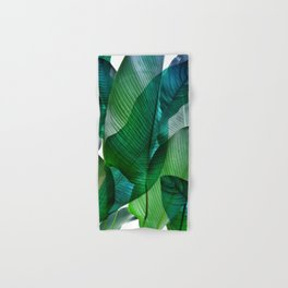 Palm leaf jungle Bali banana palm frond greens Hand & Bath Towel