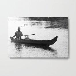 Man in Boat in India Metal Print