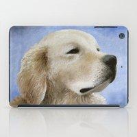golden retriever iPad Cases featuring Dog 98 Golden Retriever by ArtbyLucie
