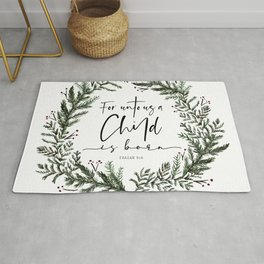 Unto us a Child is Born pine wreath Rug