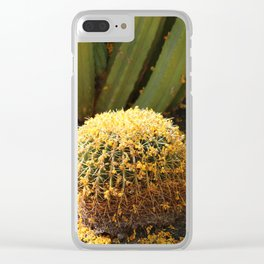 Barrel Cactus Covered In Butter Yellow Palo Brea Blossoms in Portrait Clear iPhone Case
