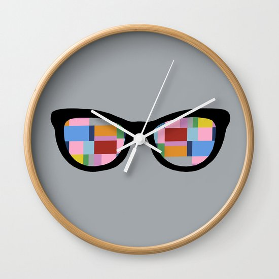 Square Eyes on Grey Wall Clock