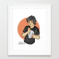 nico di angelo Framed Art Prints featuring confused Nico by theginga15