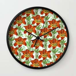 Vintage orange yellow green lily floral pattern Wall Clock