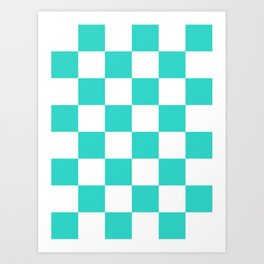 Large Checkered - White and Turquoise Art Print