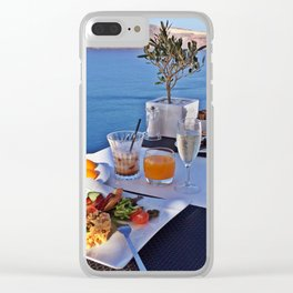 Oia, Santorini, Greece.. Breakfast with a View! Clear iPhone Case