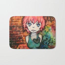 Graffiti girl. mixed media Bath Mat