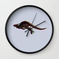 kangaroo Wall Clocks featuring kangaroo by barmalisiRTB