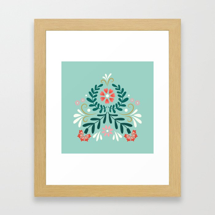 Floral Folk Pattern Framed Art Print