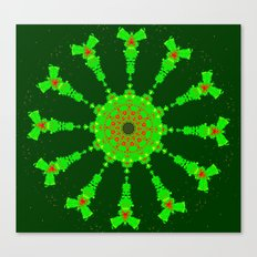 Lovely Healing Mandalas in Brilliant Colors: Hunter Green, Bright Green, Red, and Yellow Canvas Print
